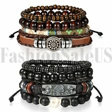 2 Sets(8pcs) Black Skull Leather Men Women Tribal Beaded Cuff Wristband Bracelet