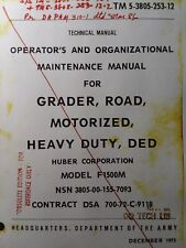 Huber Motor Road Grader F1500m Owners Manual Tm 5 3805 253 12 Dod Army Military