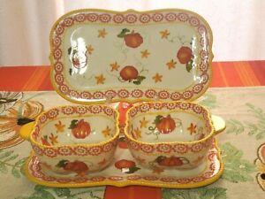 Temptations Pumpkin Patch Individual casserole soup bowls Serving Set