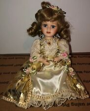 New In Box LADYBUG FAIRY All Porcelain Doll with Grass Forest Stand