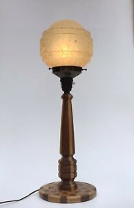 Art Deco Wooden Table Lamp Stepped Glass Shade Parquetry Base Lighthouse Lamp