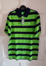 GIO-GOI Mens Stripe Polo T-Shirt Fluorescent Green&Navy Short Sleeves Size S