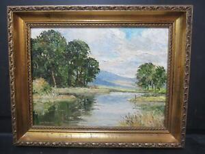 Yorkshire Derbyshire Impressionist River Landscape Impasto Oil by Ken Johnson