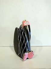 WOOD CARVING  VULTURE BUZZARD SCULPTURE HAND PAINTED BLACK WHITE AND PINK