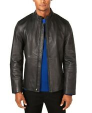 NEW $400 ALFANI BLACK GENUINE LEATHER FULL ZIP LT WEIGHT JACKET SIZE M