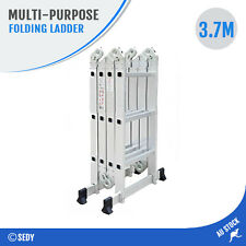 3.7M Adjustable Scaffold Multipurpose Function Folding Step Aluminium Ladder NEW
