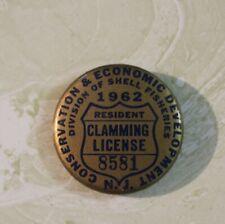 1962 Resident N. J. Clamming License #8581