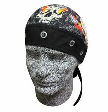 Black Grey Bolts Nuts Skulls Flames Head Wrap Sweatband Durag Capsmith Biker