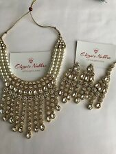 Gold Plated Rhinestone & Imitation Pearl Alloy Necklace Earrings And Maang Tika
