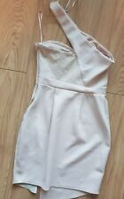 Lipsy London By Michelle Keegan Cream Leather Detail Dress Size 12
