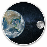 2 x Vinyl Stickers 7.5cm - Earth & Moon Planet Space Globe Cool Gift #21483