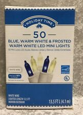 New Holiday Time 50 Blue Frosted LED Mini Lights White Wire Christmas