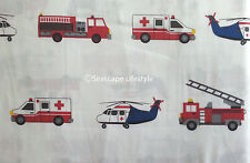 4-pc ☆ EMERGENCY 911 TRUCKS ☆ Full Sheet Set 100% COTTON Boy Zone Fire Engines