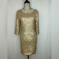 As You Wish Cocktail Dress Size Large Gold Sequin Bodycon 3/4 Sleeve Low Back