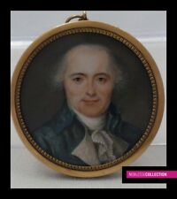 ANTIQUE End of 18th Century  FRENCH MINIATURE PAINTING WATERCOLOR Portrait