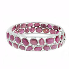 De Buman 40.8g Sterling Silver 2-Row Natural Ruby Ladies Bangle Bracelet, 7.78''