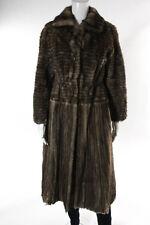 Designer Vintage Brown Sheared Mink Fur Collared Coat Size 2