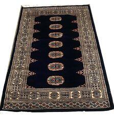 Bokhara Rug Dark Navy Blue Original Hand Knotted Oriental Wool Rug 96x162cm -50%