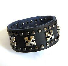 Biker Vintage style Genuine Black Leather & Iron Cross Rivet Bracelet
