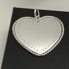 Tiffany & Co Silver Extra Large Twist Rope Heart Pendant $285 Retail