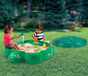Sandbox With Cover Turtle Fun Outdoor Green Backyard Kids Comfortable Yard Game
