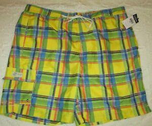 CHAPS Men's XXL Yellow Plaid Drawstring Swim Trunks Shorts