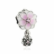 Authentic Pandora 792077PCZ Magnolia Bloom Bead with Pink and Clear CZ Charms