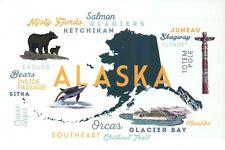 Alaska Typography, Totem Pole, Whale, Bear, Cruise Ship etc. --- Modern Postcard