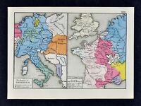 1880 Labberton Map Empire of Frederick II Germany Austria - England & France War