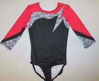 NEW Leotard Size LA Large Adult Long Sleeve Red Black Dance Gymnastics Womens L