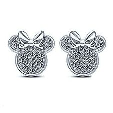 IWD 0.30Ct Round Diamond 14K White Gold Over Bow Minnie Mouse Stud Earrings