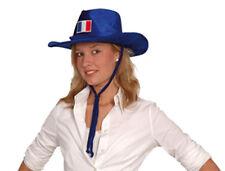 Chapeau de cow-boy bleu drapeau France brodé bleu blanc rouge supporter 6220040