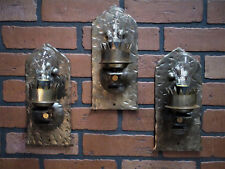 Antique Set of 3 Hand Wrought Iron Wall Sconces A & C Gothic Spanish Revival