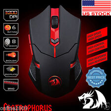 Adjustable 3200DPI Optical Wired Gaming Mice Mouse Fr Laptop PC Redragon M601 US
