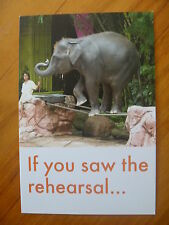 POSTCARD..ELEPHANT ON TIGHT ROPE...WORLD ANIMAL PROTECTION..ANIMAL CRUELTY