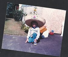 Vintage Photograph Adorable Little Girl Wearing Huge Sombrero Hat in the Yard