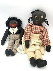 Vtg Set of 2 Miss Fannie Turgeon's African American Signed Dolls Donna Gilbert