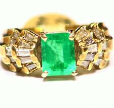 2.41CT 14K Gold Natural Colombian Emerald White Diamond Vintage Engagement Ring