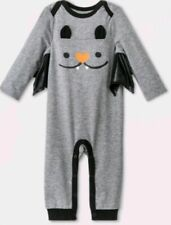(2B4) 3-6M Baby Boy Halloween Long Sleeve Romper Cat & Jack Heather Gray