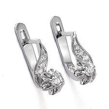 Girls Childrens Russian Style Earrings .28 CWT Diamond 14k White Gold #E925