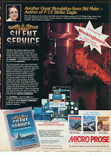 1986 Micro Prose Silent Service WWII Submarine Simulation Computer Game Print Ad