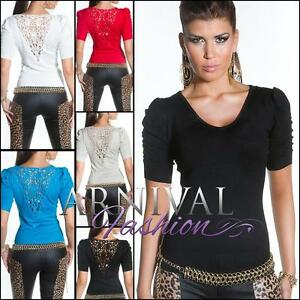 WOMENS FASHION JUMPERS ladies KNIT TOPS LACY SHORT SLEEVE SWEATER PULLOVER AU SZ