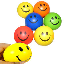 12x Happy Smile Smiley Face Bouncy Squeeze Foam Sponge Ball Stress Relief Toys#