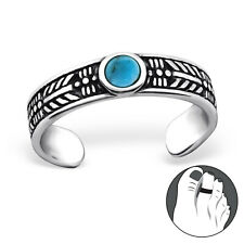 Tribal Semi Precious Round Turquoise Adjustable Tjs 925 Sterling Silver Toe Ring