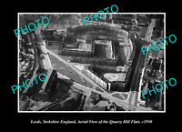 OLD POSTCARD SIZE PHOTO LEEDS YORKSHIRE ENGLAND THE QUARRY HILL FLATS 1950