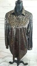 Lauren Lee Vintage Blouse Black Gold Embossed Womens Shirt UK 12/14 Party Xmas