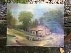 Old Folk art oil painting People House Animals Signed Sleighter No Reserve