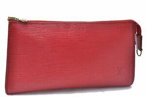 Authentic Louis Vuitton Epi Pochette Accessoires Pouch Red Junk D1593
