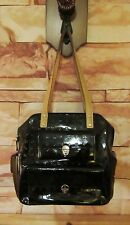 Arcadia Italy Black Patent Leather Signature Print Lock Hardware Handbag Unique