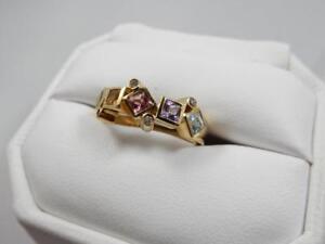 LADIES 14KT YELLOW GOLD, MULTI GEMSTONE & DIAMOND RING, SIZE 7   #W15